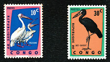 1963 Republic of Congo 'Pelican/African Openbill' Birds Stamps set of 2 - MNH