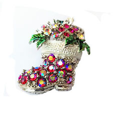 Gift for Xmas AB Red & Green Santa Sock Christmas Decoration Brooch Pin BR233