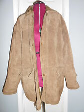 Mens HABAND Brown Genuine Suede Leather Coat Size XL Faux Fur Lined