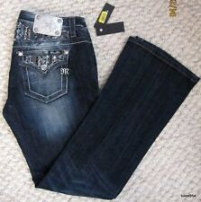 Miss Me Dark Denim Rhinestone Stone Wash Distress Frayed Pocket Jeans 29 NWT New