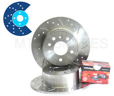 ROVER MG ZR FRONT DRILLED GROOVED BRAKE DISCS & PADS