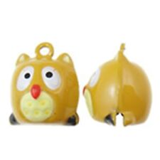 Beige Owl Bird Colorful Enamel 18mm Jingle Bells 2 pieces