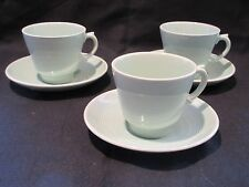 3 x WOODS WARE BERYL GREEN  COFFEE CUPS AND SAUCERS VINTAGE GENUINE 1940's/ 50's
