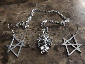 satanic jewelry lot, Baphomet necklace, unicursal hexagram earrings, Witchcraft