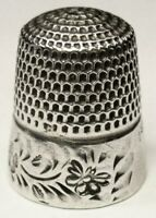 "Antique Goldsmith Stern Sterling Silver Thimble  Folk Art ""Bumble Bees""  C1890s"