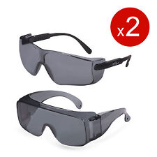 Set of Smoke Gray Lens Safety Glasses for Straight Light Glare UV Protection