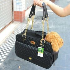 Pets Dog Handbag Puppy Faux Leather Purse Carrier Outdoor Travel Black Tote Bag