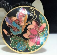 Vintage Cloisonne Enamel Butterfly  Water Lily Flower Pendant Necklace 418