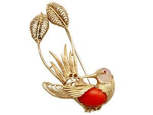 1950's Italian Ruby, Moonstone, Coral and 18k Yellow Gold 'Hummingbird' Brooch