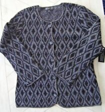 Jones New York Black/Silver Diamond Pattern Cardigan Size L  NWT