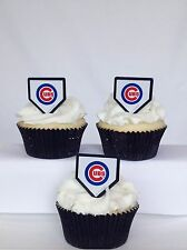 12 Chicago Cubs MLB Baseball Cupcake Rings Toppers Decorations Party Favors
