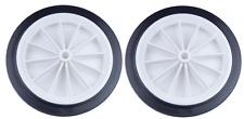 """2 x 160mm (6 """") Bianco in Plastica a raggiera con Ruote Nero pneumatico"""