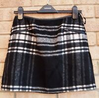 NEW LOOK BLACK WHITE CHECK TARTAN 17% WOOL A LINE WINTER MINI TEA SKIRT 8 S