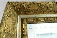ANTIQUE GOLD MIRROR WOOD GESSO ORNATE FINE ART COUNTRY