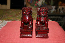Chinese Foo Fu Dog Bookends-Pair-Red Resin Wood-Religious Spiritual-Buddhism