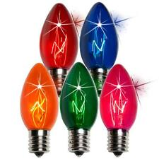 Box of 50 C9 Twinkle Multicolor Triple Dipped Transparent Christmas Bulbs