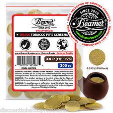"200 Beamer Brass Metal Tobacco Smoking Pipe Screens.812"" 13/16""Comp2Glass, Steel"