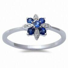 14kt White Gold Sapphire Diamond Filigree Ring - Art Deco Style