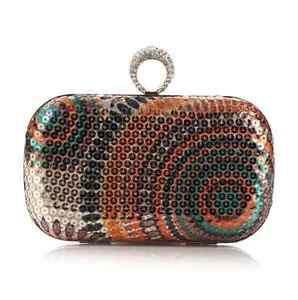 Peacock Grains Style Circle Sequins Evening Clutch Bag Style : 1#