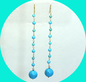 "Turquoise bead drop earrings handmade 18K YG 4"" long 8.1 GM birthstone"