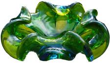 Green Ruffled Thick Glass Murano Dish