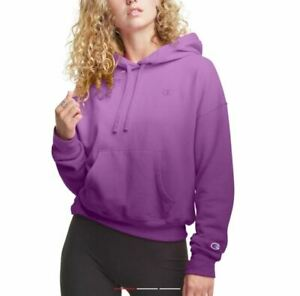 CHAMPION Powerblend fleece lined pullover women's hoodie-Ombre purple -SMALL