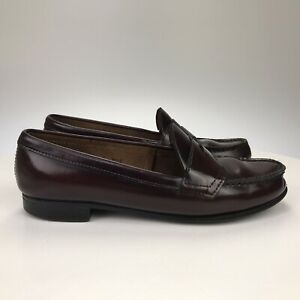 WomenS 8.5 B - Vintage Made in USA - Bass Burgundy Leather Moc Toe Penny Loafers