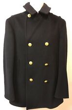 Military Kersey Peacoat Reefer Wool Navy War Coat Gold Buttons Bonham 38 Vintage
