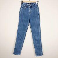 Hollister Vintage Stretch Ultra High-Rise Mom Jean Striped Denim Size 00R 23x27