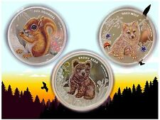 *Australian Forest Babies* 3 Colored Silver Coin Set, Bear–Squirrel–Wolf (2013)