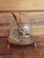 Vintage Mid Century Glass Soup Tureen Teak Wood Base Americana Eagle Pattern