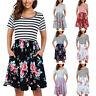 Summer Womens Loose Casual Short Sleeve Pockets Stripe Beach Short Mini Dresses
