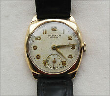 J W Benson – Solid Gold – Cushion – sub dial - Mens Wrist Watch