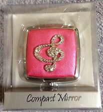 MUSIC CLEF SQUARE COMPACT MIRROR - PINK
