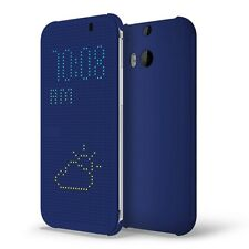 CUSTODIA COVER  HTC ONE M8S M8-S DOT VIEW HC 100 ORIGINALE iCASE ® BLUE DISPLAY