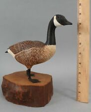 Miniature 1982 William Semple Folk Art Carved Painted Wood, Canada Goose, NR