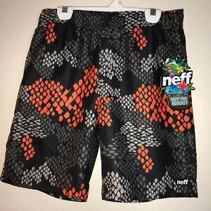 NEFF Hot Tub Short Boys Youth Size Large Black Orange Geometric Design NEW Tags