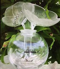 LARGE LALIQUE FRANCE CRYSTAL DOUBLE ANEMONE FLOWERS PERFUME BOTTLE NEW IN BOX!