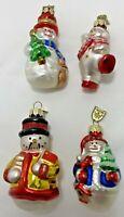 Lot of 4 Glass Blown Christmas Ornaments Snowman Thomas Pacconi USA Vintage