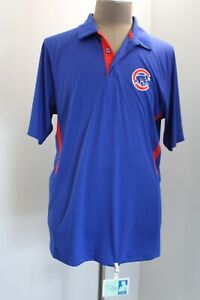 Majestic Chicago Cubs Mens XL Blue Short Sleeve Athletic Polo Shirt