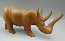 Wood Rhino Rhinoceros Figurine Hand Carved In The Republic of Kenya