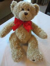 BUILD A BEAR STUFFED TEDDY BEAR CAMEL COLOR RED RIBBON SUPER CUTE CUDLY GIFT NEW