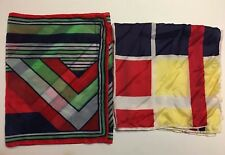 2 Geometric Vintage Scarves One Chiffon And One Rayon