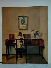 "Vintage HERMANN GRAF ~Child at Spinet ~Piano ~Girl ~Print ~15"" x 18.5"""