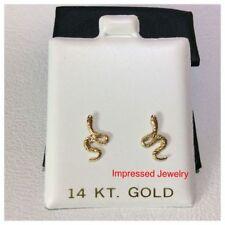 14k Yellow Gold Snake Shaped Screwback safe children women stud Earrings