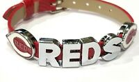 Cincinnati Reds Leather Adjustable Rhinestone Football Bracelet Jewelry