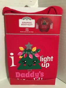 Holiday Time Christmas Graphic Bodysuit Creeper I Light Up Daddy's 24 mo. IG NEW