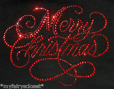 """9"""" x 7"""" red Merry Christmas  iron on rhinestone transfer applique decal patch"""