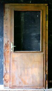 einfache Haustür mit Fenster, 1960er Jahre,  T-DH 20, incl. Rahmen , 80x201 cm