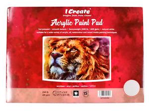 I Create  Acrylic Paint Pad 400 GSM (A3 15 Sheets)    Acrylic, Oil & Mixed Media